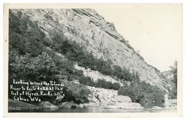 "Text reads, ""Looking across the Potomac River to Routes 4 and 28 at the foot of Hyres Rocks, Cabins, W. Va."""