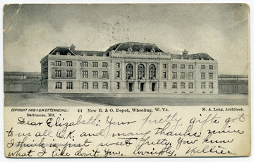 The postcard names M. A. Long as the architect of the building, which today houses the West Virginia Northern Community College.